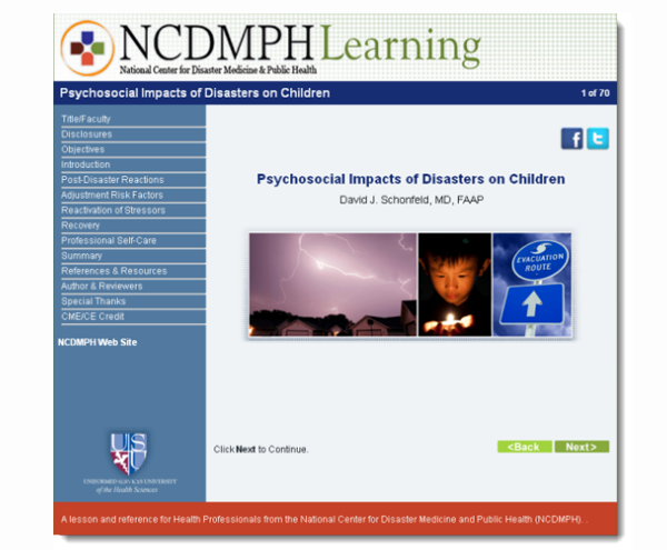 NCDMPH Learning: Psychosocial Impacts of Disasters on Children